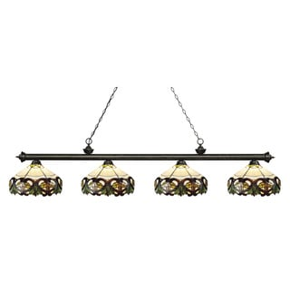 Z-Lite Riviera Golden Bronze 4-lights Golden Bronze Tiffany Finished Island/ Billiard Light
