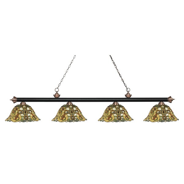 Z-Lite Riviera Matte Black & Antique Copper 4-lights Matte Black & Antique Copper Tiffany-style Finished Island/ Billiard Light