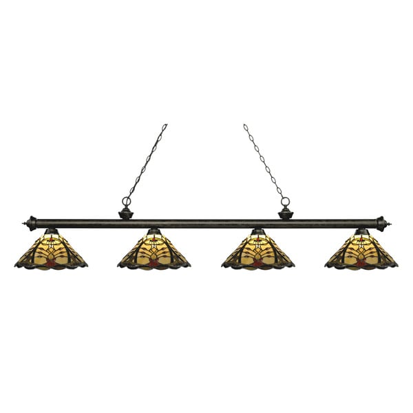 Z-Lite Riviera Golden Bronze 4-lights Golden Bronze Tiffany-style Finished Island/ Billiard Light