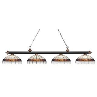 Avery Home Lighting Matte Black & Antique Copper 4-light Tiffany-style Finished Island/ Billiard Light
