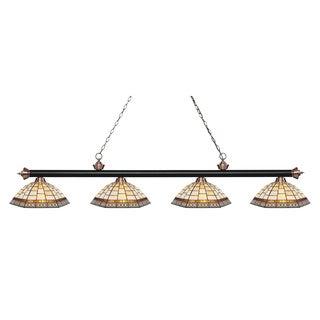 Z-Lite Riviera Matte Black & Antique Copper 4-lights Matte Black & Antique Copper Tiffany-style Finished Island/ Billiard Light
