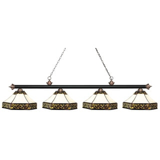 Z-Lite Riviera Matte Black & Antique Copper 4-lights Matte Black & Antique Copper Tiffany Finished Island/ Billiard Light