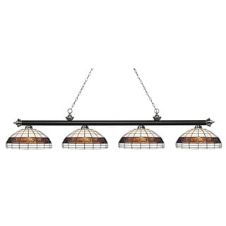 Z-Lite Riviera Matte Black & Brushed Nickel 4-lights Matte Black & Brushed Nickel Tiffany Finished Island/ Billiard Light