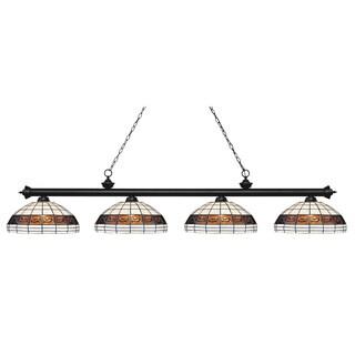Avery Home Lighting Riviera Matte Black 4-lights Matte Black Tiffany-style Finished Island/ Billiard Light