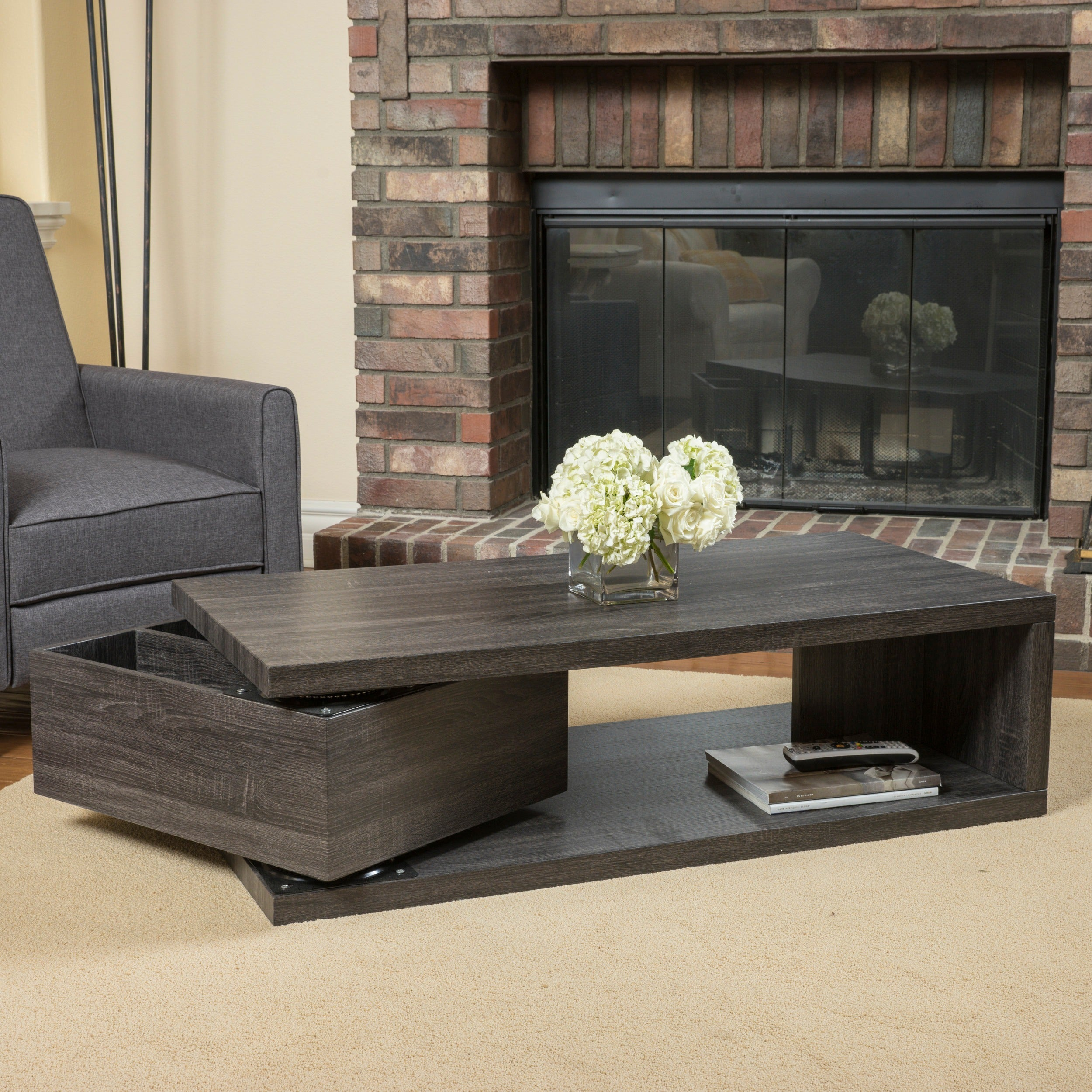 Jack Rectangular Rotating Wood Coffee Table by Christophe...