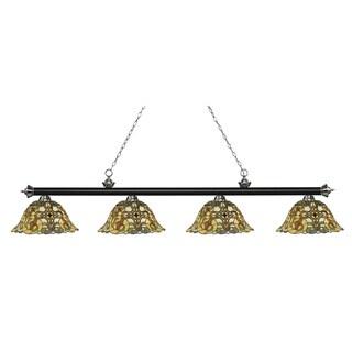 Z-Lite Riviera Matte Black & Brushed Nickel 4-lights Matte Black & Brushed Nickel Tiffany-style Finished Island/ Billiard Light
