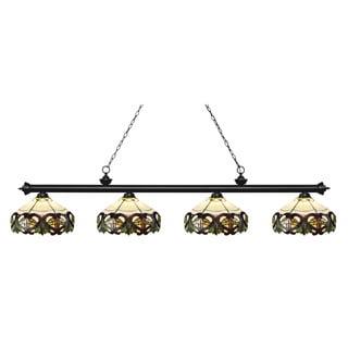 Z-Lite Riviera Matte Black 4-lights Matte Black Tiffany-style Finished Island/ Billiard Light