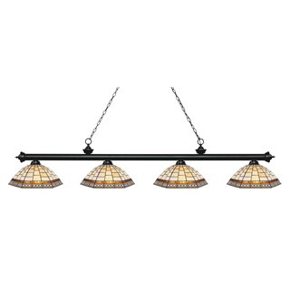 Z-Lite Riviera Matte Black 4-lights Matte Black Tiffany Finished Island/ Billiard Light