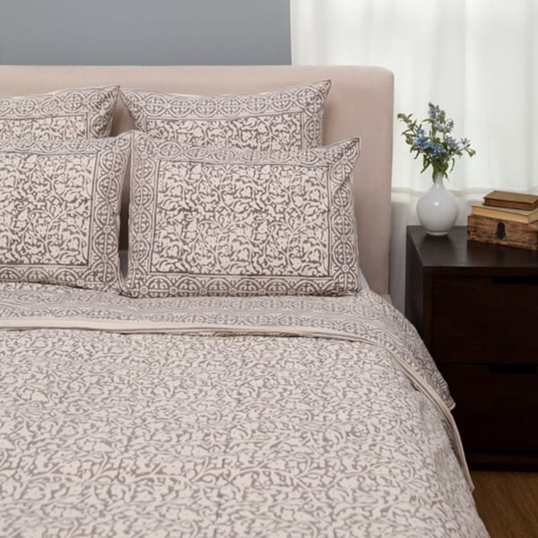 Handmade Chain Pattern Duvet Cover Set - Taupe King (India)