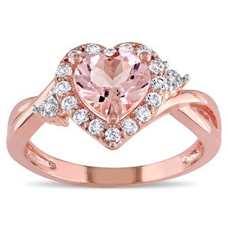 Miadora Rose Plated Sterling Silver Morganite, Created White Sapphire and Diamond Accent Heart Infin