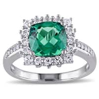 Miadora Sterling Silver Created Emerald, Created White Sapphire and Diamond Accent Halo Cocktail Rin - Green