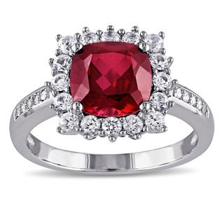 Miadora Sterling Silver Created Ruby, Created White Sapphire and Diamond Accent Halo Cocktail Ring