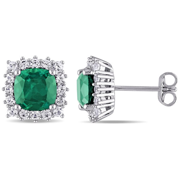 Miadora Sterling Silver Created Emerald and Created White Sapphire Halo Stud Earrings