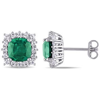 Miadora Sterling Silver Created Emerald and Created White Sapphire Halo Stud Earrings - Green