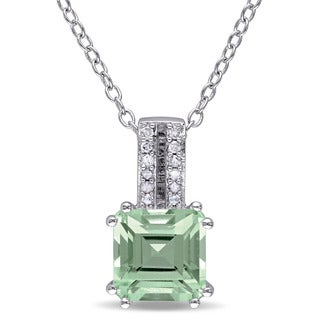 Miadora Sterling Silver Green Amethyst and Diamond Accent Drop Necklace