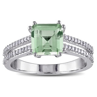 Miadora Sterling Silver Green Amethyst and 1/5ct TDW Diamond Cocktail Ring (G-H, I2-I3)