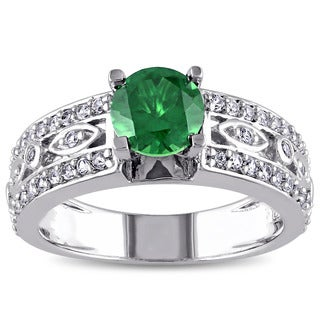Miadora Sterling Silver Created Emerald and Created White Sapphire Cocktail Ring