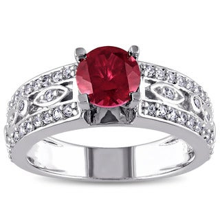 Miadora Sterling Silver Created Ruby and Created White Sapphire Cocktail Ring