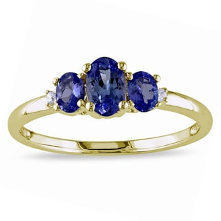 Miadora 10k Yellow Gold Sapphire and Diamond Accent 3-Stone Engagement Ring