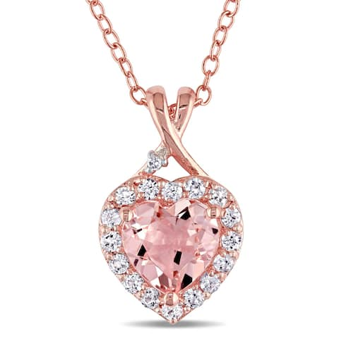 Miadora Rose Plated Sterling Silver Morganite, Created White Sapphire and Diamond Accent Heart Halo Necklace - Pink
