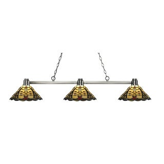 Z-Lite Park Brushed Nickel 3-lights Brushed Nickel Tiffany-style Finished Island/ Billiard Light