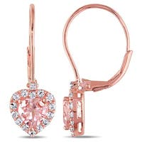 Miadora Rose Plated Sterling Silver Morganite, Created White Sapphire and Diamond Accent Heart Dangle Earrings
