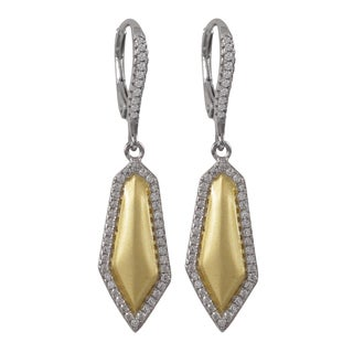 Luxiro Two-tone Sterling Silver Matte Gold Finish Cubic Zirconia Dangle Earrings