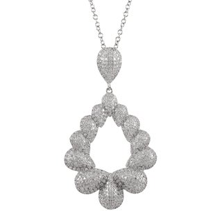 Luxiro Sterling Silver Micropave Cubic Zirconia Teardrop Pendant Necklace