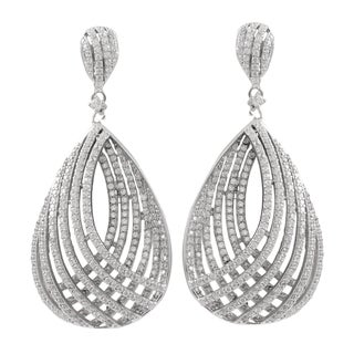 Luxiro Sterling Silver Pave Cubic Zirconia Curved Teardrop Dangle Earrings