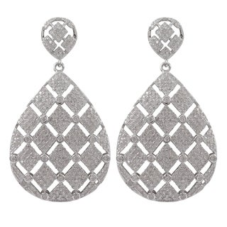 Luxiro Sterling Silver Micropave Cubic Zirconia Tufted Teardrop Dangle Earrings