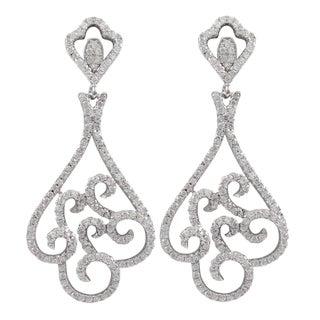 Luxiro Sterling Silver Pave Cubic Zirconia Filigree Dangle Earrings