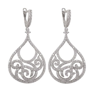 Luxiro Sterling Silver Pave Cubic Zirconia Filigree Teardrop Dangle Earrings