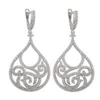 Luxiro Sterling Silver Pave Cubic Zirconia Filigree Teardrop Dangle Earrings