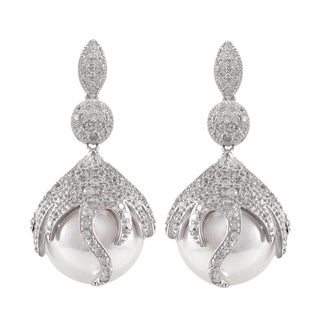 Luxiro Sterling Silver Pave Cubic Zirconia Faux Pearl Dangle Earrings