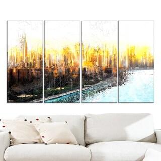 Design Art 'New York Sunset Cityscape' Large Canvas Artwork