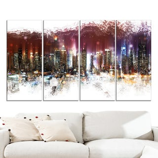 Design Art 'Nightlife Cityscape' Urban Canvas Artwork