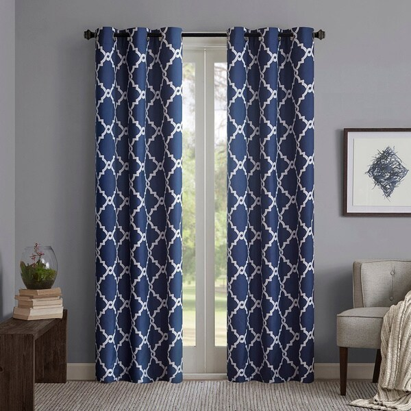Buy Blue, Lattice Curtains \ Drapes Online at Overstock | Our Best