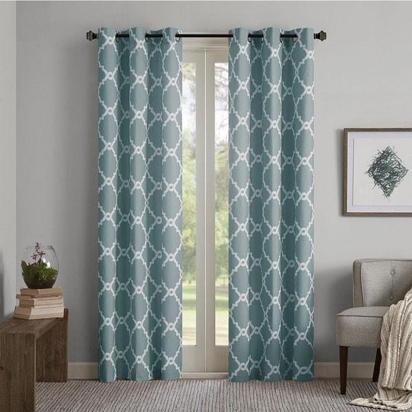 Madison Park Essentials Almaden Fretwork Printed Grommet Top Curtain Panel Pair