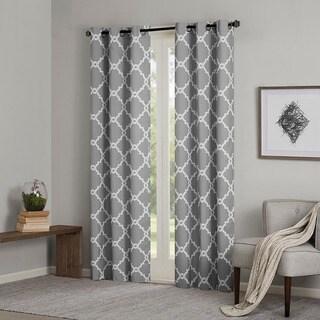 Madison Park Essentials Almaden Printed Fret Grommet Top Curtain Panel Pair