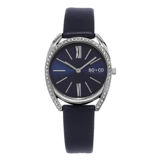 SO&CO New York Women's Quartz Austrian Crystal Leather Strap Watch|https://ak1.ostkcdn.com/images/products/10600625/P17673167.jpg?impolicy=medium