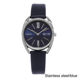 SO&CO New York Women's Quartz Austrian Crystal Leather Strap Watch