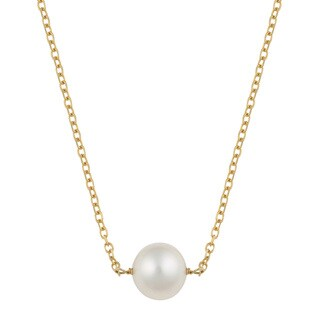 Fremada 14k Yellow Gold Delicate 7-7.5MM Freshwater Pearl Necklace (16 inches) - White