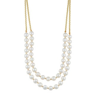 Fremada 14k Yellow Gold Double Strand Freshwater Pearl Necklace (16 inches) - White