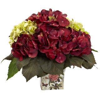 Green & Burgundy Hydrangea Arrangement
