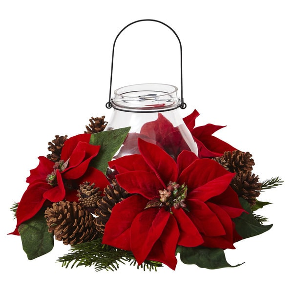 poinsettia pine cone candelabrum centerpiece artificial natural nearly wayfair holiday candleholder collect arrangements later larger qty inches