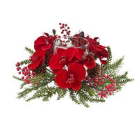 Orchid, Berry & Pine Holiday Candleabrum