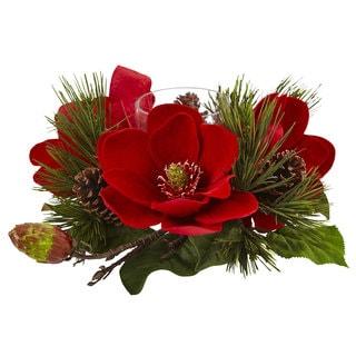 Red Magnolia & Pine Candelabrum