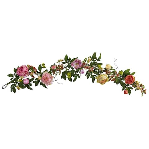 60-inch Mixed Peony & Berry Garland