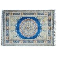 Denim Blue Silken Kashan 400 KPSI Oriental Rug Hand-knotted (7' x 10')