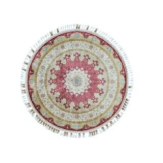 Round Red Silken Kashan 400 KPSI Hand-knotted Oriental Rug (5'7 x 5'7)
